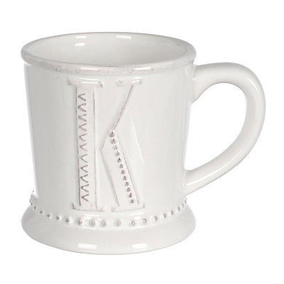 White Embossed Dot Monogram K Mug