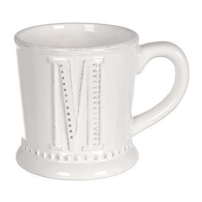 White Embossed Dot Monogram M Mug