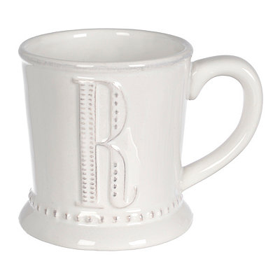 White Embossed Dot Monogram R Mug