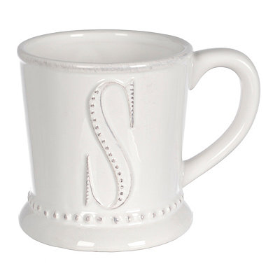 White Embossed Dot Monogram S Mug