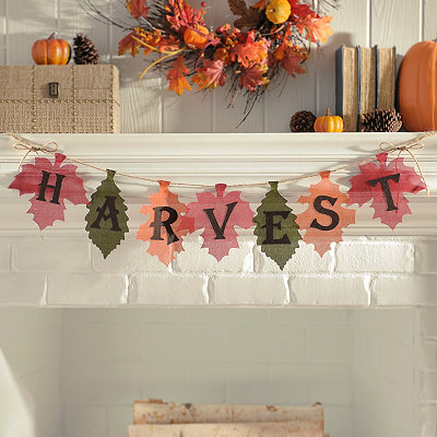 Harvest Leaves Burlap Banner