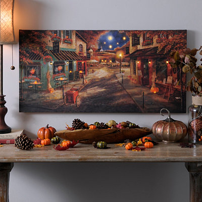 Autumn Village Downtown LED Canvas Art Print