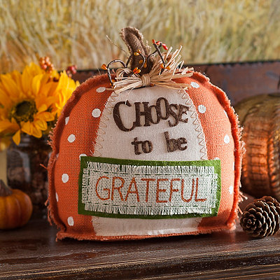 Choose to Be Grateful Burlap Pumpkin