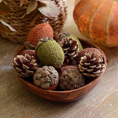 Burlap Acorns and Pine Cones Filler