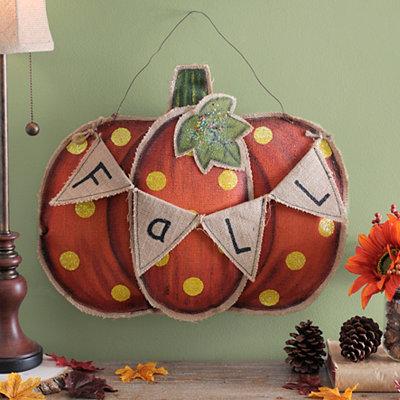 Burlap Fall Pennant Banner Pumpkin Wall Hanger