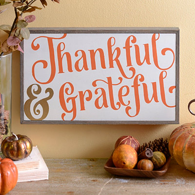 Thankful and Grateful Barnwood Box Sign