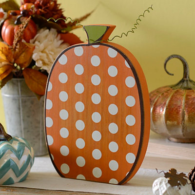 Polka Dot Wooden Pumpkin, 12 in.