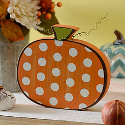 Polka Dot Wooden Pumpkin, 8 in.