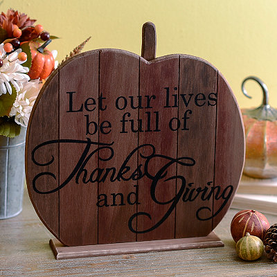 Thanks and Giving Wooden Pumpkin Plaque