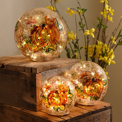 Harvest Pumpkin Crackle Pre-Lit Orbs, Set of 3