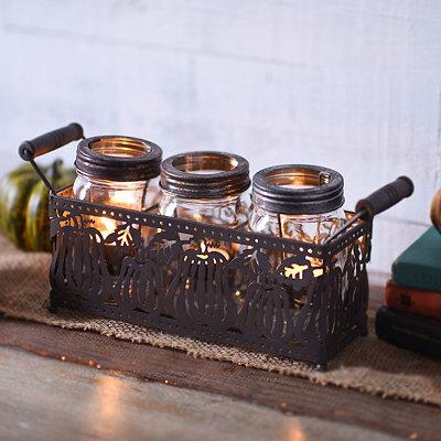 Cutout Pumpkin Tealight Candle Runner, Set of 4