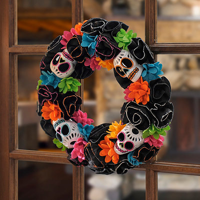 Day of the Dead Black Skull Wreath