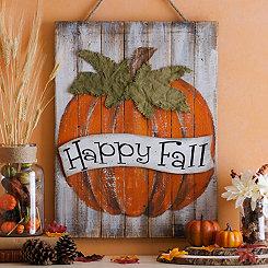 Happy Fall Pumpkin Wood Plank Plaque