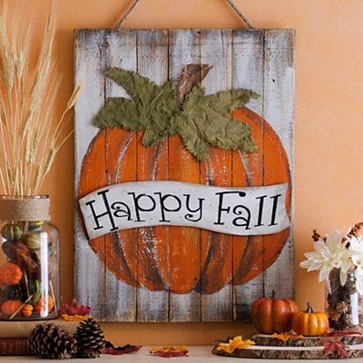 Happy Fall Pumpkin Wood Plank Plaque