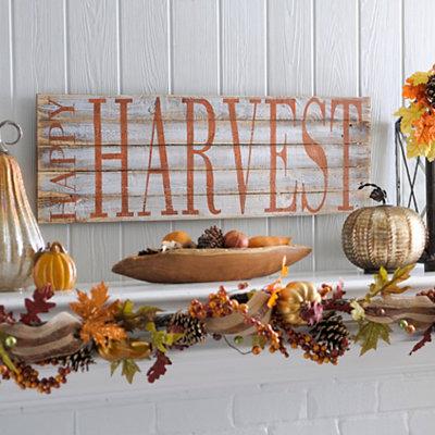 Happy Harvest Wood Plank Plaque