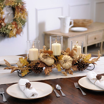 Cream Metallic Pumpkin Centerpiece