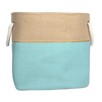 Large Blue and Burlap Split Storage Bin