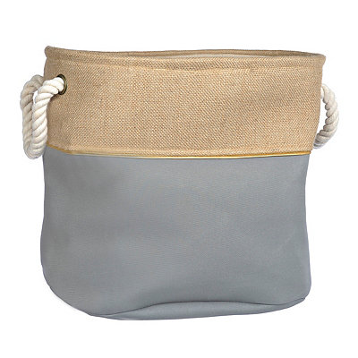 Medium Gray and Burlap Split Storage Bin