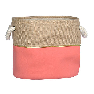 Small Pink and Burlap Split Storage Bin