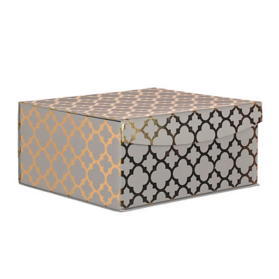 Gray and Gold Quatrefoil Pattern Box