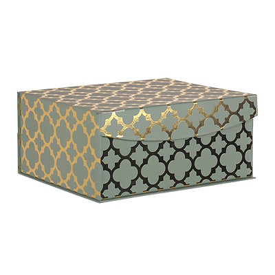 Teal and Gold Quatrefoil Pattern Box