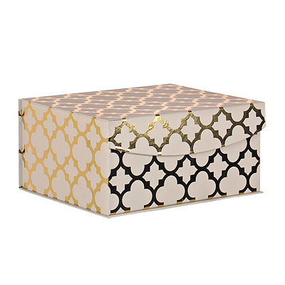 White and Gold Quatrefoil Pattern Box