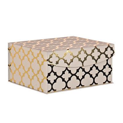White and Gold Quatrefoil Pattern Box