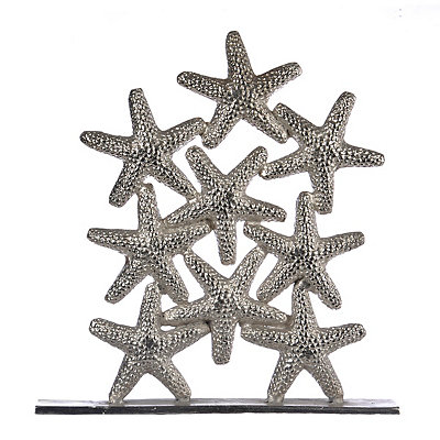 Stacked Silver Starfish Statue