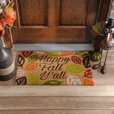 Happy Fall Y'all Leaf Welcome Doormat