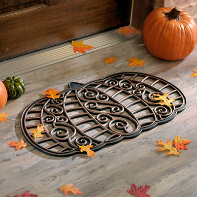 Rubber Pumpkin Doormat