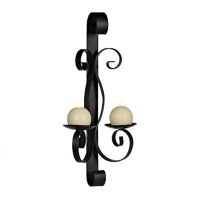 Double Black Metal Scroll Sconce