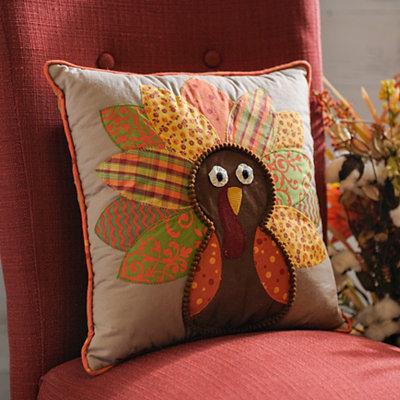 Patchwork Turkey Harvest Pillow