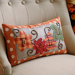 Patchwork Fall Leaves Accent Pillow