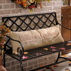 Autumn Greetings Burlap Pillow