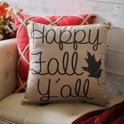 Cream Happy Fall Y'all Pillow