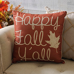 Orange Happy Fall Y'all Pillow