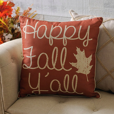 Orange Happy Fall Y'all Pillow