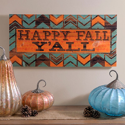 Happy Fall Y'all Printed Wood Plaque