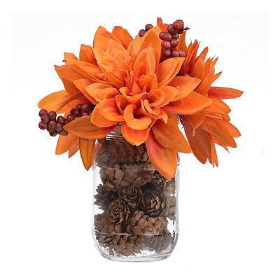 Orange Mum Mason Jar Arrangement