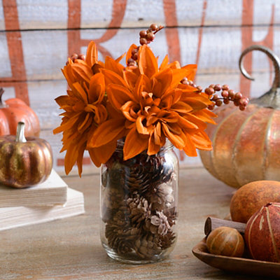 Orange Mum Mason Jar Arrangement