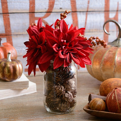 Red Dahlia Mason Jar Arrangement
