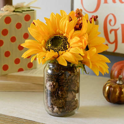 Yellow Sunflower Mason Jar Arrangement