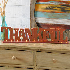 Pre-Lit Thankful Plaque