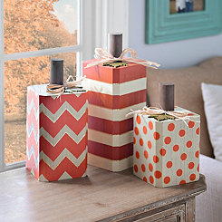 Patterned Block Pumpkins, Set of 3