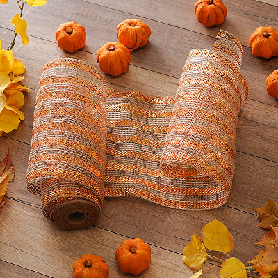 Orange Stripe Mesh Burlap Ribbon