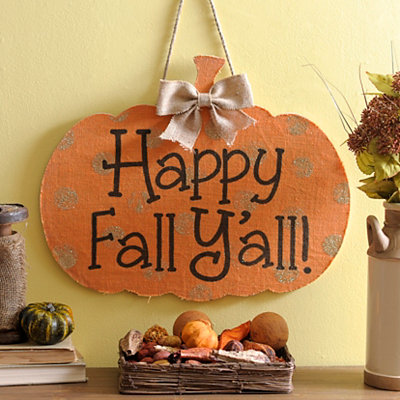 Glitter Happy Fall Y'all Pumpkin Wall Hanger