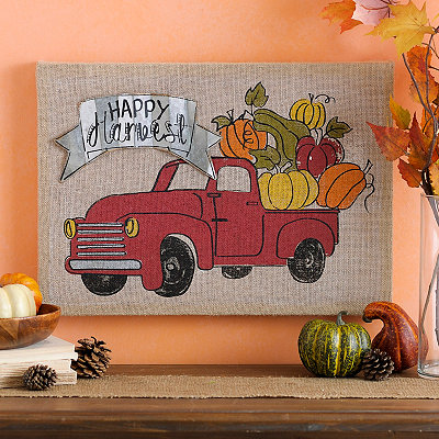Happy Harvest Pumpkin Truck Canvas Plaque