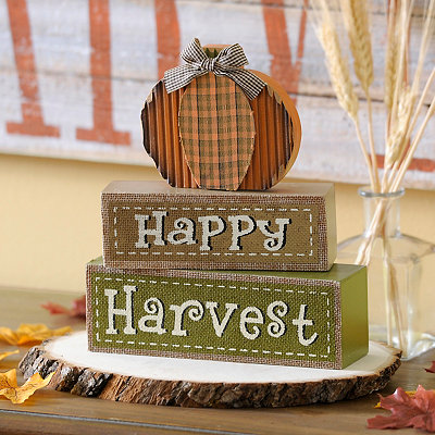 Happy Harvest Pumpkin Word Blocks