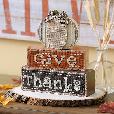 Give Thanks Pumpkin Word Blocks