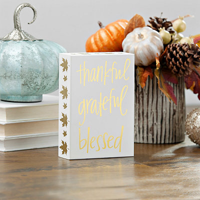 Thankful Grateful Blessed Gold Leaf Word Block